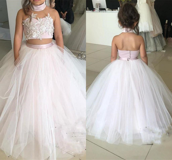 2018 Flower Girls Dresses Blush Pink High Neck Two Pieces Lace 3D Floral Applique Tulle Birthday Dresses First Communion Girls Pageant Gowns