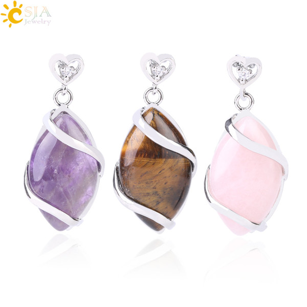 best selling CSJA Women Trendy Jewelry Pendants for Necklace Choker Making Horse Eye Shaped Natural Gemstone Charms Pendant with Love Heart Buckle F562