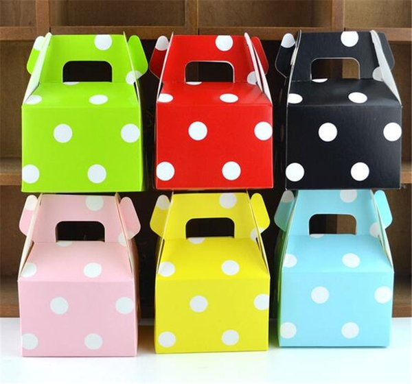 MOQ 200 pcs 1 color Birthday paper candy box wedding favors polka dot candy boxes Kids Party Favor Box DIY Gift Box Supplies Polka Candy Bag