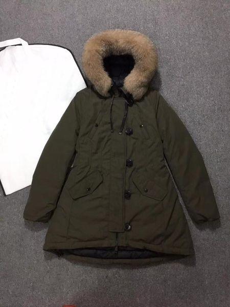 best selling Women Winter Jacket Ladies Real Fox Fur Collar Duck Down Inside Warm Coat Femme Long Coat 806