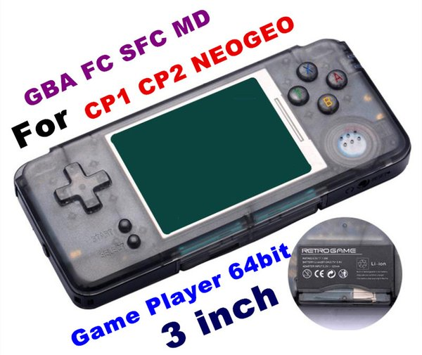 2018 RETROGAME Mini Handheld Game Player 64bit 3.0 inch LCD Portable Game Console For CP1 CP2 NEOGEO GBA FC SFC MD Format Games TF Card