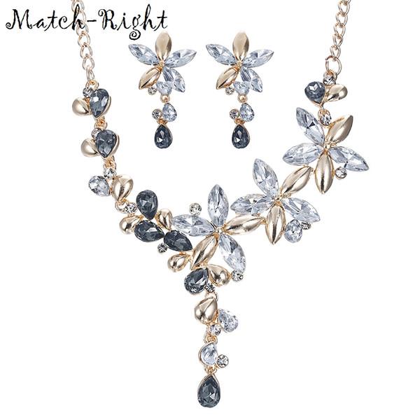 9e364071502c Venta completaMatch-Right Mujer Collar Rhinestone Declaración Flor Collares  Colgantes Joyería Conjunto Cristal Collar Mujeres