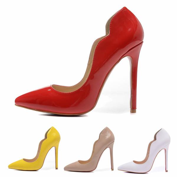 b3c59c47131f38 Chaussures à talons hauts Femmes Rouge Chaussures Rouge Blanc Beige Jaune  verni 12cm Talon Haut Chaussures