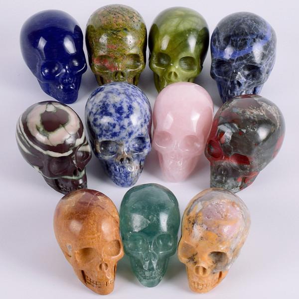 2 pouces naturel lapis-lazuli crâne fait main crâne de jade pierre gemme sculpture cristal de guérison reiki décoration de la maison pierre cristal artisanat