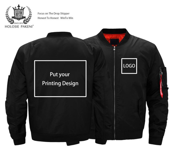 Drop Shipping USA Size Thick Bomber Jacket Uomo Streetwear Flight MA-1 Giacca Personalizzata Logo Designs Stampa Custom Made Coat