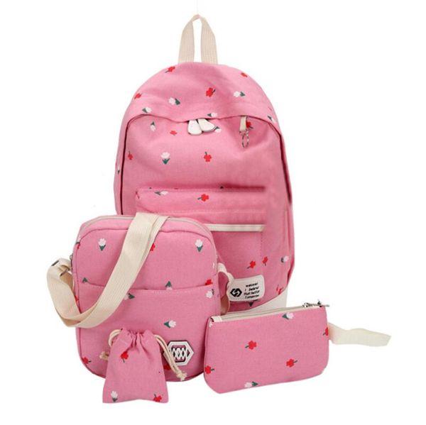 MUQGEW 2017 Printing Backpacks Set Women Canvas Flowers Prints Candy Color Cute Children School Bags For Teenage Girls#LREW