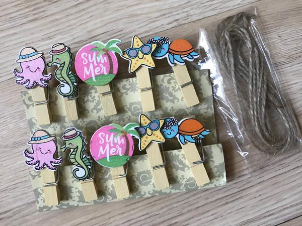 30pcs Vacaciones de verano Papel Papel clavijas de madera con cordel, Foto Clips de madera, Pin Clothespin Clips, Pin para Favores de regalo de fiesta