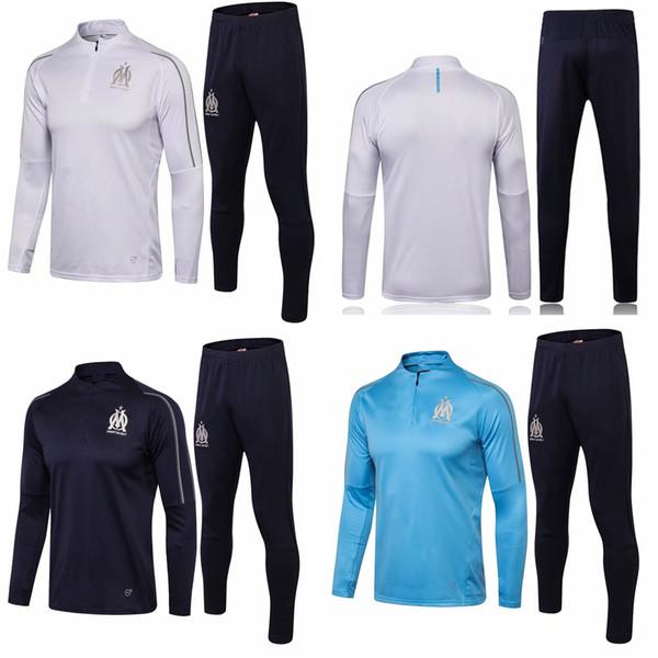 18 19 Marsilya Futbol Eşofman OM Tay Kaliteli Kazak Pantolon Yetişkin Tam Kollu Rahat Futbol Takım Elbise erkek Spor Eğitim Kiti