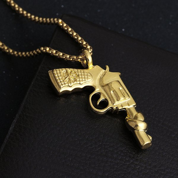 High grade jewellery authentic 18K Gold Plated pistol model male / female fashion hip hop Necklace sweater chain A166#