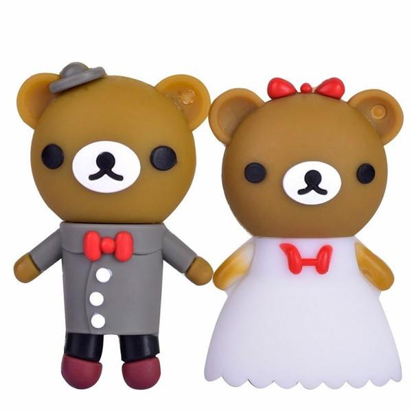Fine Cute Bear USB Flash Drive Special Gift Pen Drive Pendrive 4GB/8GB/16GB/32GB/64GB 2.0 USB Stick For Lover Friend Memory U Disk