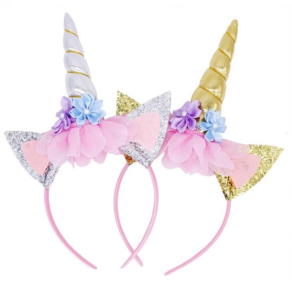 Unicorn Hair Headbands Cute Princess Birthday Party Children Sticks Floral Toddler Hair Ribbon Baby Hair Accessories Cosplay Wholesale