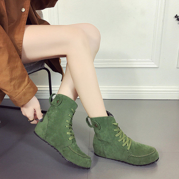 Women Leather Martin Boots Lace Up Flat Shoes Winter 2018 Knight Boots For Women Leather Handmade Ankle Boots Big Size L-31