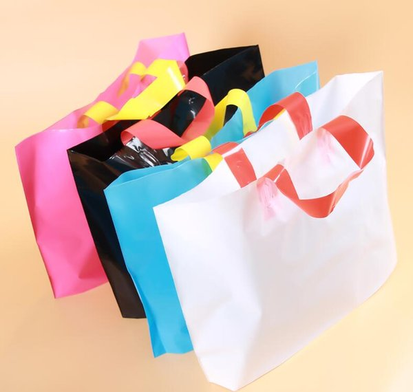 1.22 custom Plastic Shopping Bags With Handles Clothes Packaging Gift Bag Shopping Bags(500pcs logo customized) 30*20cm +8cm