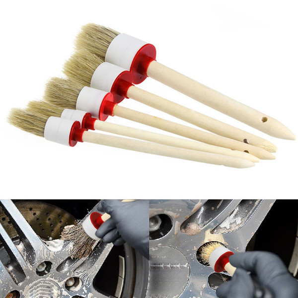 best selling 5Pcs Soft Car Accessory Wood Handle Car Detailing Brushes for Cleaning Dash Trim Seats Wheels For Interior,Dashboard,Rims