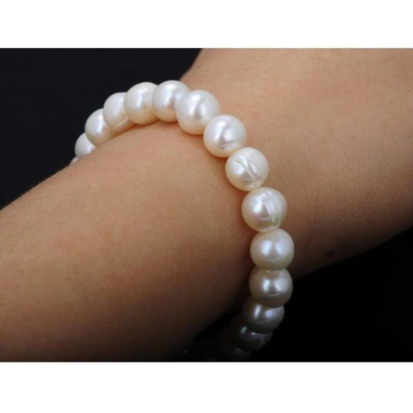 New Fashion Freshwater Pearl Strand Pearl Bracelet Pure White Stretch Bridal Bangle wedding jewelry bracelets free shipping