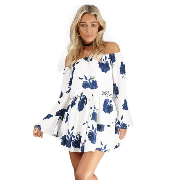 2018 Sexy Dos Nu Floral Print Summer Dress Robe Robe Noire Robe En Mousseline De Soie Blanc Bandage Femmes Robes Robe Femme