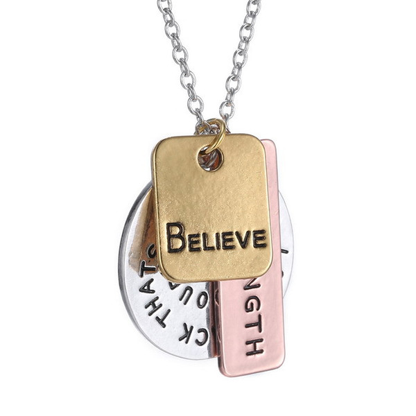 Wholesale-New Arrival Believe Coin Necklace Long Chains Hand Stamped Charms Necklace Round Pendant necklace for women gift jewelry
