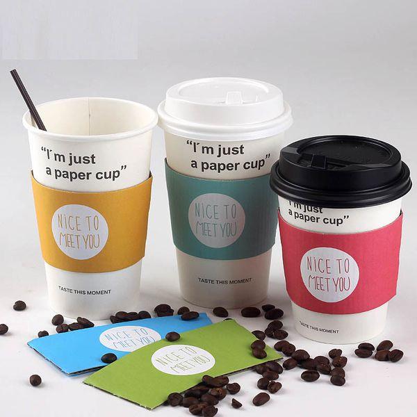100 Stücke Einweg Tasse Hülse Für 12 ~ 24 unze Tassen Schön, Sie Doppelstock Papier Kaffee Tee Saft Tasse Hülse Anti-hot Angepasst