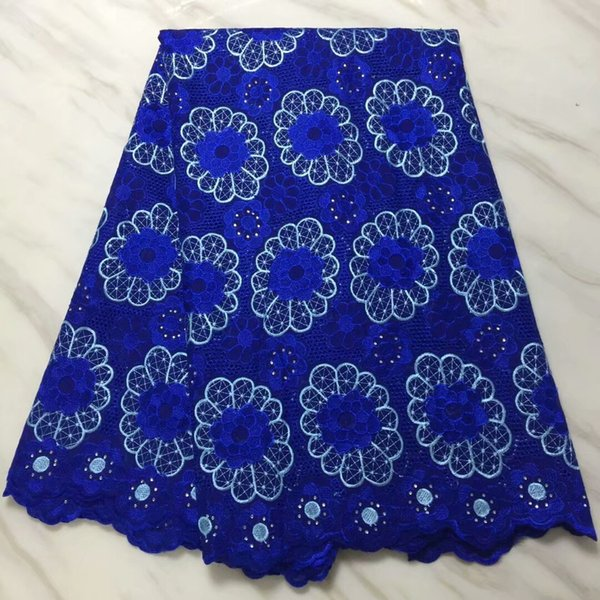 New Blue Sewing Swiss Voile Lace Fabric Birthday Cotton Big Embroidery Styles African Lace Fabric Stone Nigerian Lace Fabric Dress 9 Colour