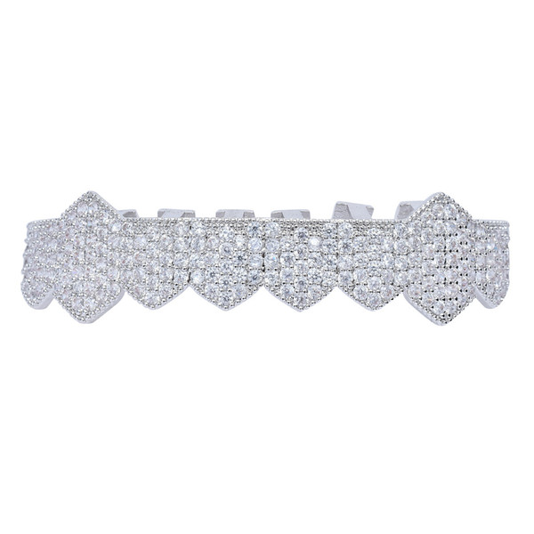 Iced Out Vampire Teeth Grillz Gold Silver Plating Micro Pave CZ Stones Mouth Grills fit Upper and Bottom