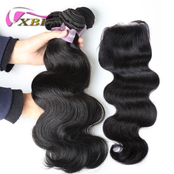 xblhair human hair bundle lace closure virgin brazilian body wave and straight human hair bundles with top lace closure