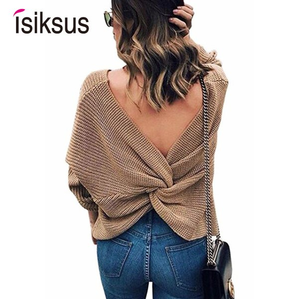 Isiksus Sexy V-neck Plain Knitted Pullovers Sweater Women Autumn Winter 2018 Cotton Black Sweaters Female Casual Jumper SW016