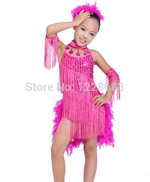 Sconti Paillettes Piuma Fringe Bambino Bambini Abiti Dance Latino Ragazza Costumi Per Ballroom Danza Sala da ballo Dance Dress Girls