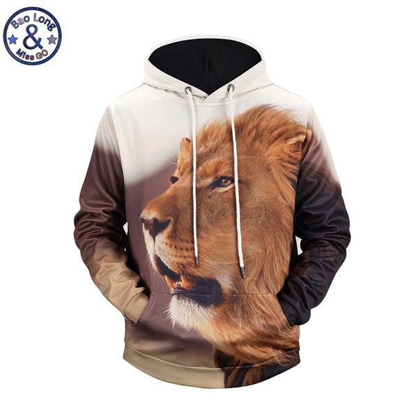 Felpa 3D Animal Lion Panda Wolf Felpa con cappuccio Uomo Stampa 3D Felpe con cappuccio Teen Streetwear Cappotto novità Sudadera Hombre