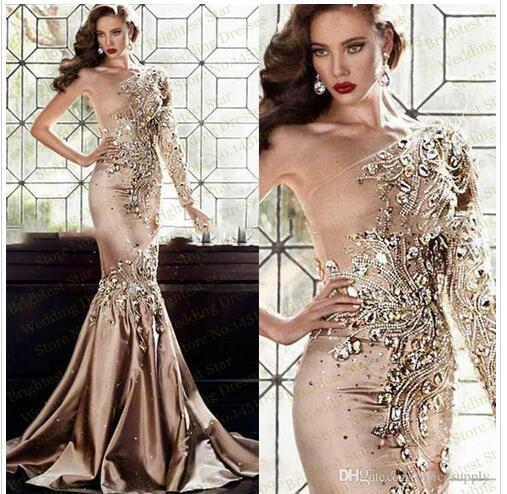 Luxury Champagne Prom Party Dresses Abaya Dubai One Shoulder Rhinestone Gowns Long Sleeve Mermaid Evening Celebrity Gowns