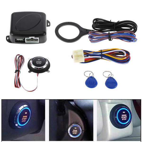 top popular Push Start Button Car Engine RFID Engine Lock Ignition Starter Keyless Entry System Go Push Button Engine Start Stop Immobilize 2021