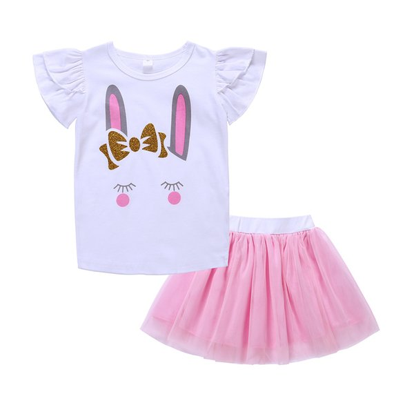 2018 Summer Kids Clothing Baby Girl Clothes Set Fashion Toddler Girl Clothes Cartoon Rabbit Pattern Tops T Shirt + Tutu Tulle Skirt Outfits