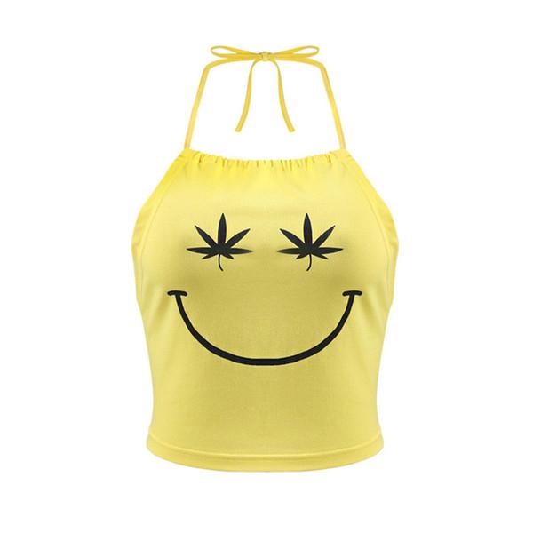 Fashion Women Smile Face Print Tanks Halter Sleeveless Backlesss Tanks