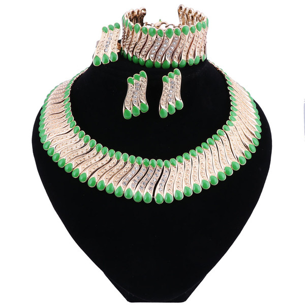 Fashion Wedding Dubai Africa Nigeria African Jewelry Set Green Necklace Earrings Bracelet Ring Bridal Jewelry Sets