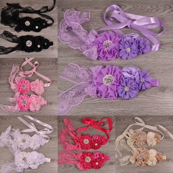 7 Colors Fancy Dusky Chiffon Flowers Sash and Headband Set With Pearls Rhinestones Lace For Girls Hair Belly Accessories