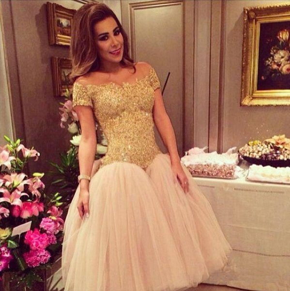 Tea Length Tulle Ball Gown Prom Dresses 2018 Gold Lace Off Shoulder Drop Waist Homecoming Party Gowns