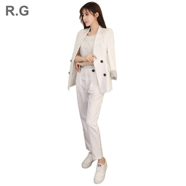 RG Women Two Piece Set Office Suit Double Breasted Black White Long Jacket+Pant Suits Business Work Wear Suit Spring Autumn 2018