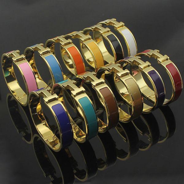 Glod Bangles Stainless Steel Enamel charm Bracelets Bangle Letter Buckle Bracelets High Quality Fashion Bracelet Free Shipping