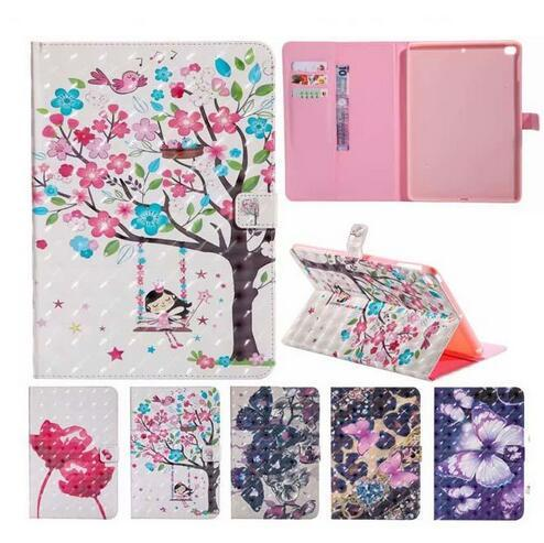 3D Flower butterfly Pattern Wallet Card Holder Stand PU Leather Smart Case For New ipad 234 5 6 Mini 123 4 T280 T350 T385 T550 T580