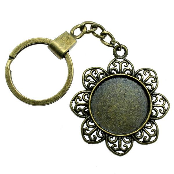 6 pieces key chain women key rings couple keychain for keys petal single side inner size 25mm round cabochon cameo base tray bezel blank