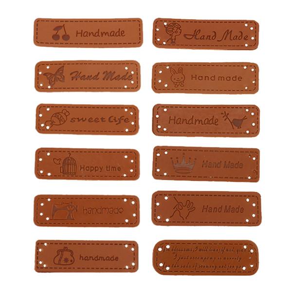 12PCS Etichette fatte a mano inglese per i vestiti Etichette in pelle PU Etichette fatte a mano Borse jeans fai da te Scarpe Accessori da cucire
