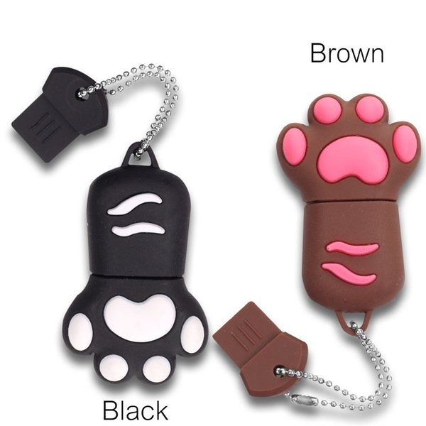 best selling 32G 64GB Cat Paw Shape USB 2.0 Flash Drive Novelty Pendrive Memory Stick Data Storage Cute Animal Thumb Drive U Disk Gift