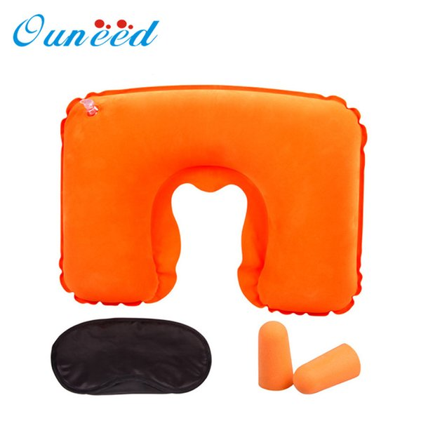 Wholesale- Happy Sale hot selling 2016 Inflatable Travel Pillow Air Cushion Neck U-Shaped Compact Plane Set Jun27
