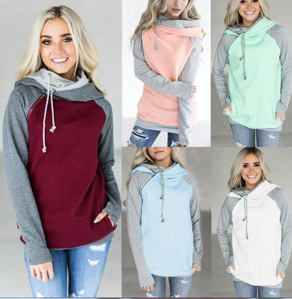 best selling Double Color Zipper Stitching Hoodies Women Long Sleeve Patchwork Pullover Winter Women Jacket Sweatshirts Jumper Tops 10pcs