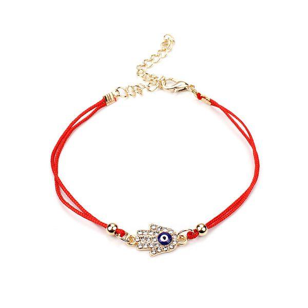2018 New Fatima Hamsa Hand Red Rope Bracelet Charm Gold Chain Cross Evil Eye with Crystal Adjustable Bracelets Women Jewelry