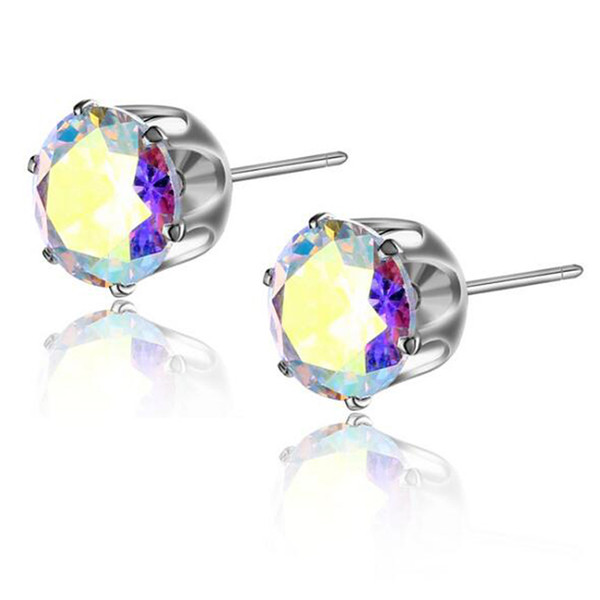 HOT SALE Stud for Women/Men fashion cool Hiphop 8MM Six-claw Zircon crystal earrings Prevent allergy 12 Colors stud earrings clip