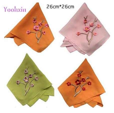 26CM Vintage Seide Quadrat Taschentuch gestickt Gesicht Hand Tee Kühlung Handtücher Frauen Kinder Spitze Männer Damen hanky Hochzeitsgeschenk