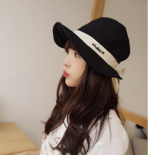 Mme version coréenne de l'archet grand pêcheur chapeau bonnet bol loisirs sauvage chapeau de soleil visière exquis mode simple accessoires de tempérament