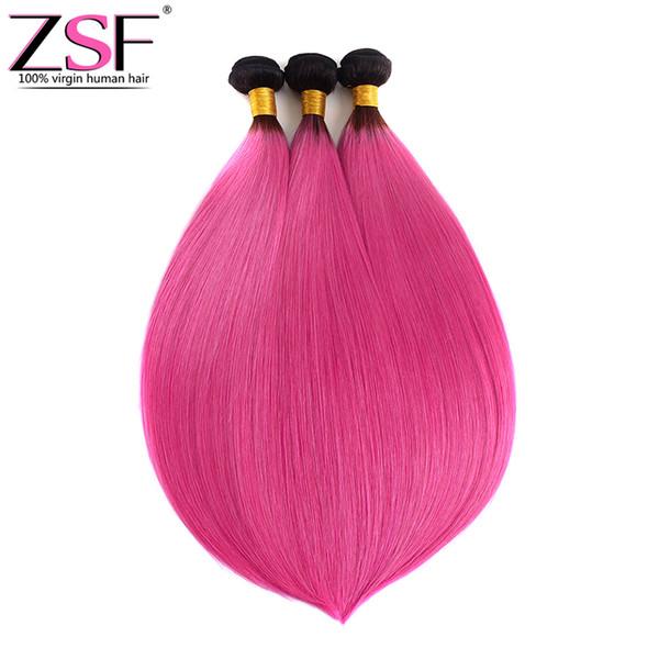 ZSF 8A Grade Hot Selling Straight Ombre bündelt brasilianische Haarverlängerungen des Haares 1b / rosa Farbe Ombre, die Haar 3 bündelt
