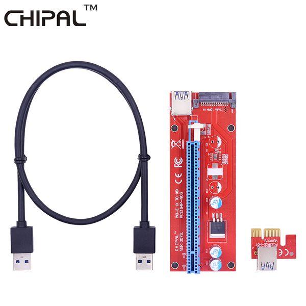 CHIPAL VER007S 60CM PCI-E 1X to 16X Riser Card Extender PCI Express Adapter+USB 3.0 Data Cable&15Pin SATA Molex Power Interface