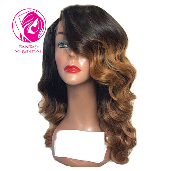 Fantasy Two Tone 13x4 Lace Front Wig Peruvian Wavy Remy Hair 150% Density Ombre Color Side Part Human Hair Wig for Black Women